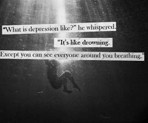 depression, drowning, and sad image