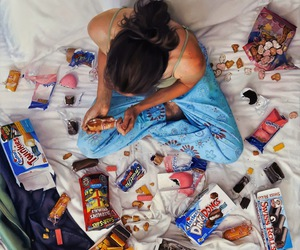food, bed, and candy image