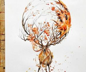 art, deer, and drawing image