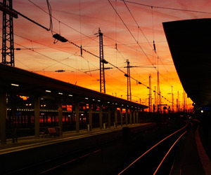 sunset, train, and photography image