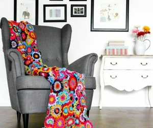 chair, crochet, and interior image
