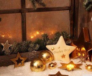 christmas lights, snow, and winter image