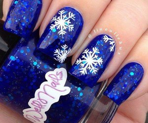 nails, blue, and christmas image