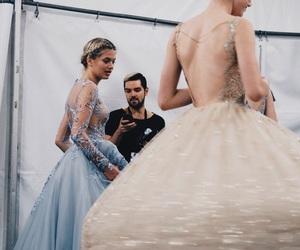 dress, blue, and theme image