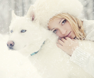 girl, snow, and beautiful image