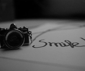 smile, b&w, and cam image