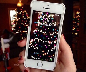 christmas, iphone, and light image