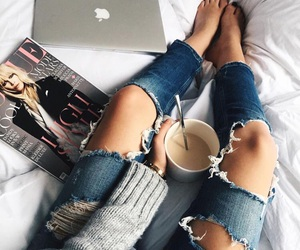 jeans, magazine, and ripped image