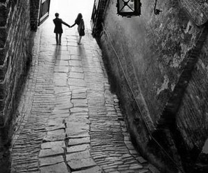 couple, black and white, and street image