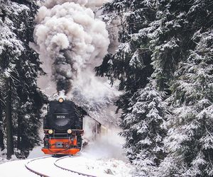 snow, train, and wood image