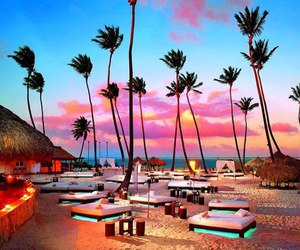 beach, paradise, and lights image