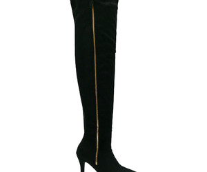 fall fashion, knee high boots, and black image