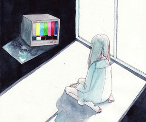 art, monochrome, and tv image
