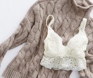 bra, lace, and sweater image