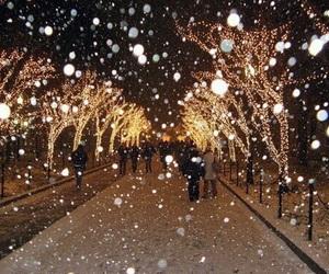light, snow, and christmas image