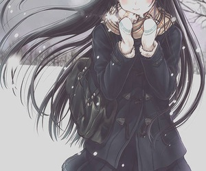 anime, anime girl, and snow image