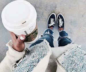 fashion, starbucks, and style image