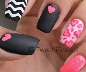 nails, pink, and black image