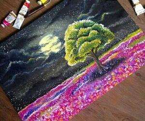 art, tree, and night image