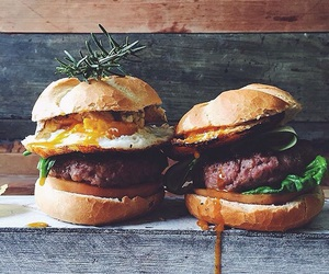 burger, eggs, and food image