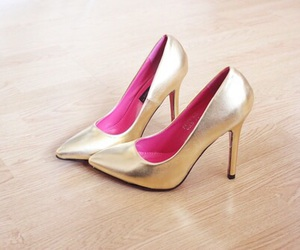 heels, shoes, and golden image