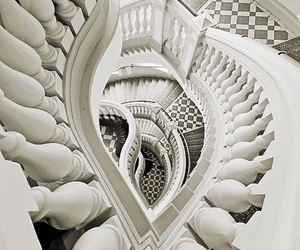 black and white and staircase image
