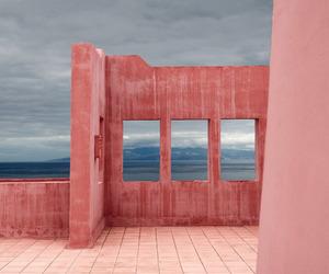 pink, sky, and wall image
