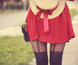 red, hat, and dress image