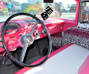 car, pink, and leopard image
