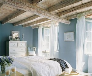 bed, interior, and peaceful image