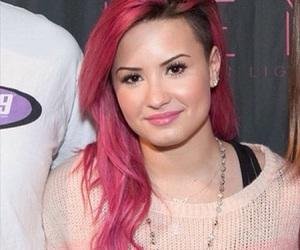 demi lovato, pink hair, and selena gomez image