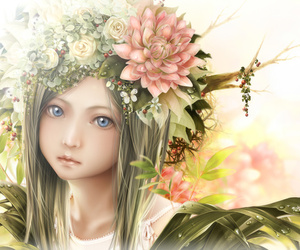 anime, flowers, and realistic image