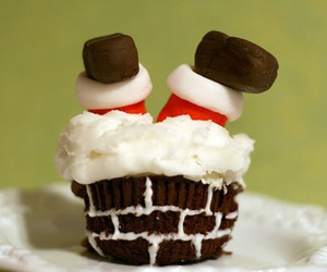 cupcake, christmas, and santa image