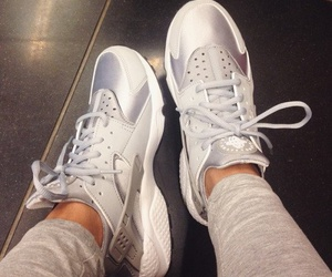 nike, silver, and sneakers image