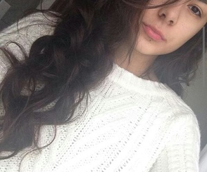 sweater, curlyhair, and whitesweater image