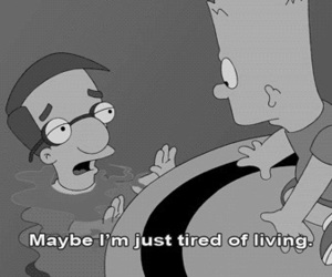 simpsons, tired, and sad image