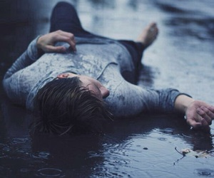 rain, boy, and sad image