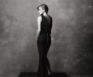 emma watson, black and white, and dress image