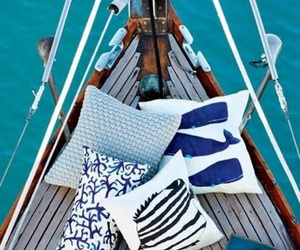 sea, boat, and pillow image