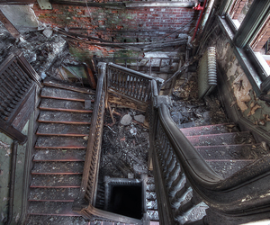abandoned, spiral, and stairs image