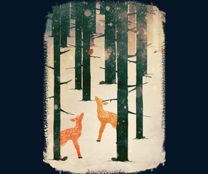 deer, forest, and snow image