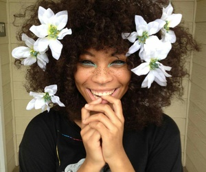 flowers, smile, and hair image