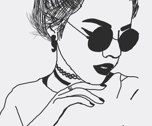 black and white, girl, and draw image