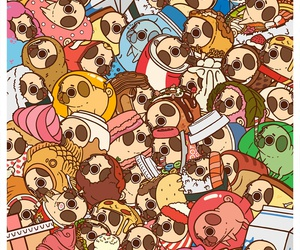 pug, wallpaper, and cute image