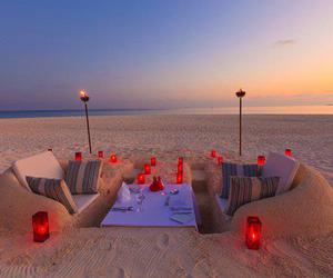 beach, romantic, and sand image