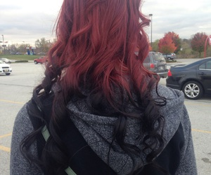 curly hair, red and black hair, and pretty hair image