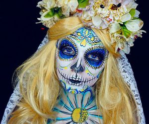 blonde, day of the dead, and girl image