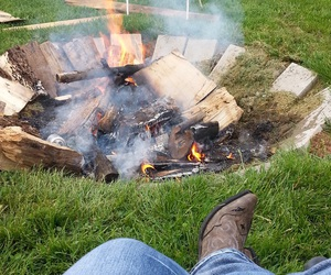 boots, fire, and heart image