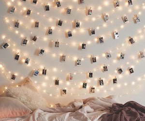 bed, christmas, and fairylights image