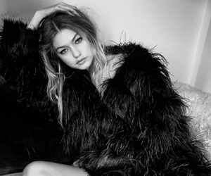 black and white and gigi hadid image